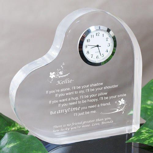 Friendship Acrylic Keepsake Heart Clock - Anytime you need a friend, 5'' x 5'' by GiftsForYouNow
