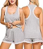 Avidlove Women's Sexy Sleeveless Pajamas Set Lace Camisole Sleepwear(Gray,XL)