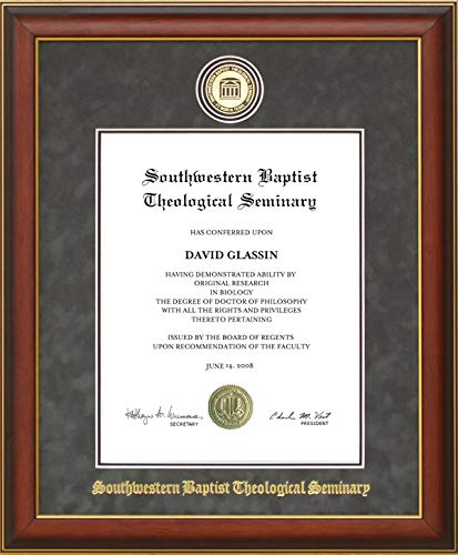 Wordyisms Southwestern Baptist Theological Seminary (SWBTS) Diploma Frame with Embossed Suede Mat