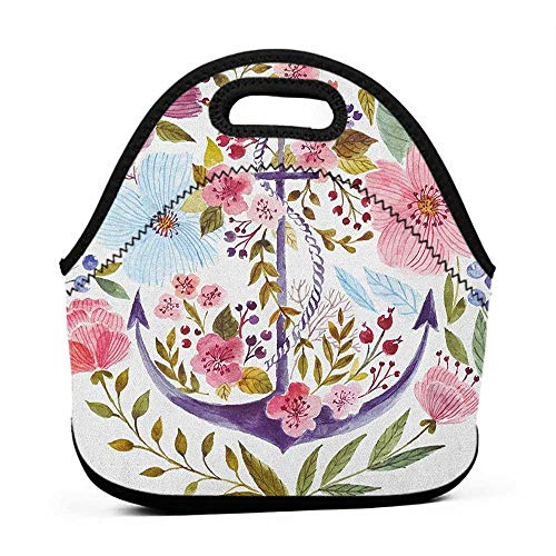 Travel Case Lunchbox with Zip Watercolor,Nautical Anchor Covered by Flourishing Ivy Blossoms Romance Love Rose Image, Multicolor,hard lunch bag for men