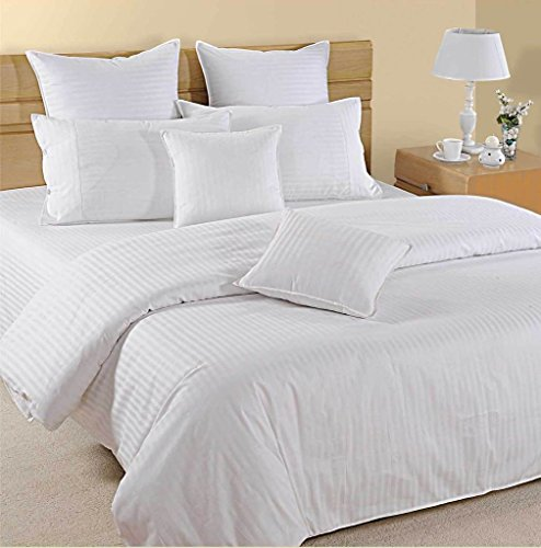 6PCS Stripe White Full Size Sheet Set 100 % Egyptian Cotton (24 Inch Deep Pocket) 1000 Thread count by Tula Linen