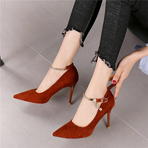 High Shallow Buckle 9Cm MDRW Brick Fashion All Lady Single Shoes Suede Spring Heels Work A 35 Fine Red Diamond Match Leisure Mouth Word Retro Elegant Elegant With 0O0rqR