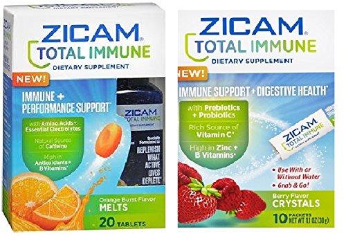 Zicam Total Immune Immune Dietary Supplement, Immune Support + Digestive Health + Performance Support, Berry Flavor Crystals & Orange Burst Flavor Melts, Combo Pack