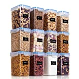 Vtopmart Airtight Food Storage Containers 12 Pieces 1.5qt / 1.6L- Plastic PBA Free Kitchen Pantry Storage Containers for Sugar, Flour and Baking Supplies - Dishwasher Safe - Include 24 Labels