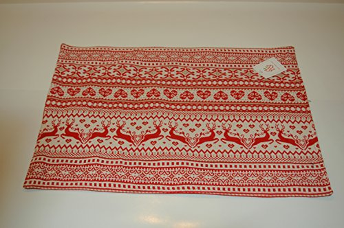 Scandia Deer with Hearts Design Woven Placemat - Set of 2