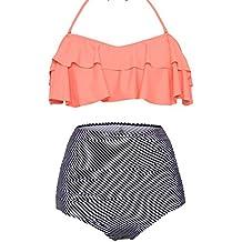 Dearlove Women's Retro Falbala High Waist Bikini Set Top Bottom Swimsuit Bathing Suits
