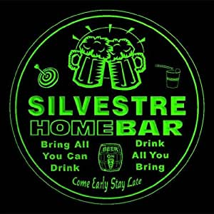 4x ccq41539-g SILVESTRE Family Name Home Bar Pub Beer Club Gift 3D Engraved Coasters