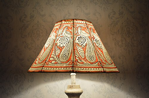 Peacock pattern Floor Lamp shade Large | Handmade Leather Aber Red Colour Garden Lamp Shade in Octagonal Shape - HT-9.5 and WID-16 - Shapes Octagonal