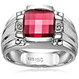 Men's Sterling Silver Created Ruby Ring with Diamond Accent Ring, Size 11
