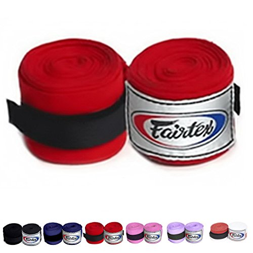 Fairtex Elastic Cotton Handwraps HW2 Hand Wraps Color Black Bleach Blue Red White Pink Purple Thaialnd used in Muay Thai, Boxing, Kickboxing, MMA (HW2, Red)