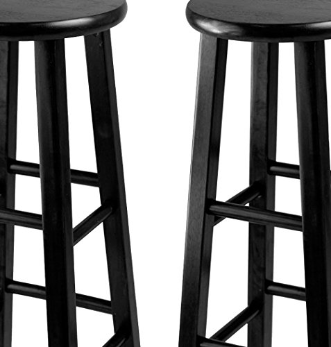 Winsome 29 Inch Square Leg Bar Stool Black Set Of 2