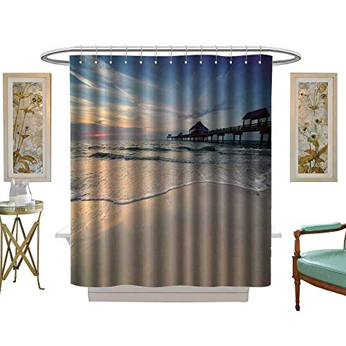 luvoluxhome Shower Curtain Customized Sun Near Pier on a Clearwater Beach Florida W48 x L72 Patterned Shower Curtain