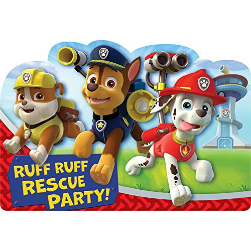 Paw Patrol Birthday Party Supplies 16 Pack Invitations -