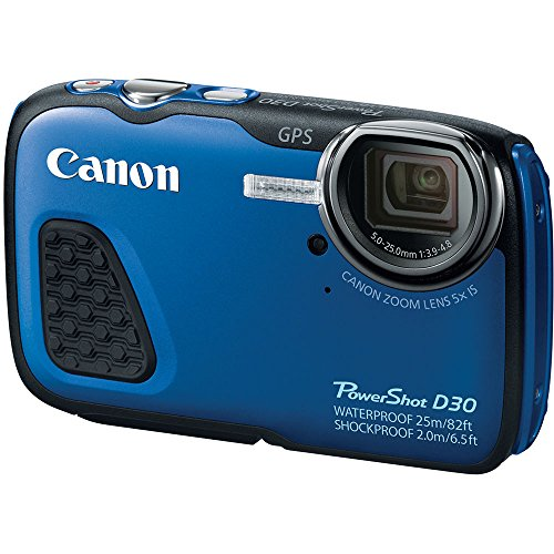 Canon PowerShot D30 Waterproof 12.1MP CMOS Digital Camera with Built-in GPS - Blue (CERTIF1ED REFURBISHED)