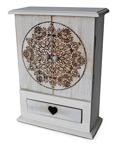 Rustic Jewelry Armoires (gbHome GH-6780 Decorative Wooden Storage Cabinet With Engraved Art, Mini Armoire And Drawer For Jewelry, Memento Case, Wood Holder For Rings, Necklaces, Earrings & Pins, Rustic Antique Distressed Look)