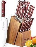 Knife Set, 15-Piece Kitchen Knife Set with Block Wooden, Manual Sharpening for Chef Knife Set, German Stainless Steel, Emojoy