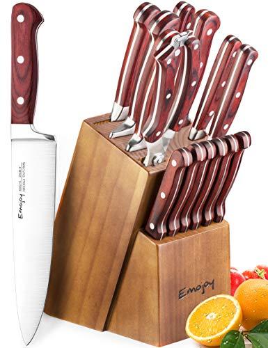 Emojoy 15-Piece Kitchen Knife Set with Block Wooden