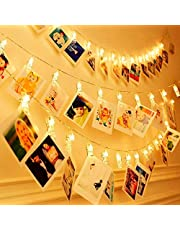 KNONEW LED Photo Clip String Lights - 20 Photo Clips 7.8ft Battery Powered LED Picture Lights for Decoration Hanging Photo, Notes, Artwork (Warm-White)
