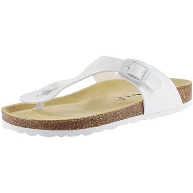 Sanosan Geneve Ladies Toe Post Sandals Lacque White Patent e4omPG2