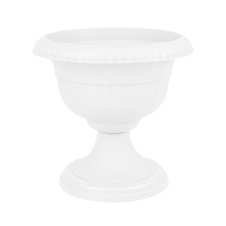 Pot de fleur en plastique Roma avec soutien, ht. 45.5 cm, en blanc Form Plastic