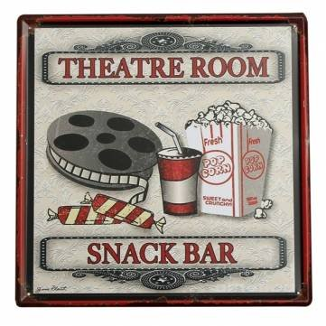 UR Home Decor metal tin signTheater Snack Bar Tin Sign Vintage Metal Plaque Poster Bar Pub Home Wall Decor ()