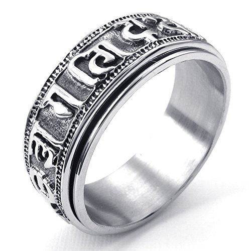 Engraved Spinner Band (TEMEGO Jewelry Mens Stainless Steel Ring, Tibet Spinner Engraved Motto Band, Black)