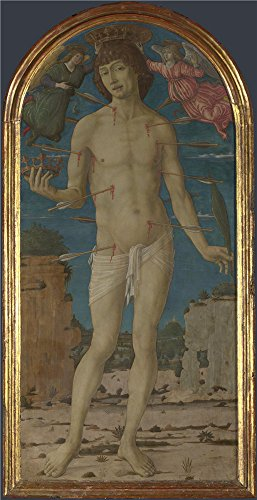 The High Quality Polyster Canvas Of Oil Painting 'Matteo Di Giovanni Saint Sebastian ' ,size: 30 X 58 Inch / 76 X 148 Cm ,this Vivid Art Decorative Canvas Prints Is Fit For Laundry Room Artwork And Home Artwork And Gifts (Group Size 58 Battery)
