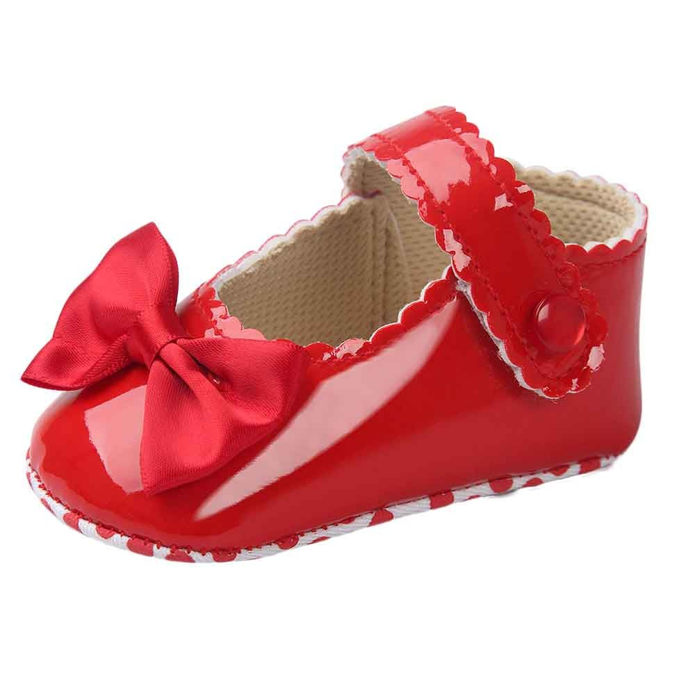 CYCTECH Newborn Baby Girl Bowknot Leater Shoes Toddlerr Anti-Slip Soft Sole Sneaker (0~6 Month, Red)