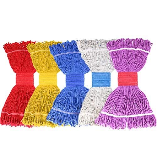 (Tidy Monster String Mop Head Fit O-Cedar Rubbermaid Mop System Heavy Duty Loop-End String Mop Refills Super Stitch Blend Large Mop Heads Replacement (5 Pack-Random Color))