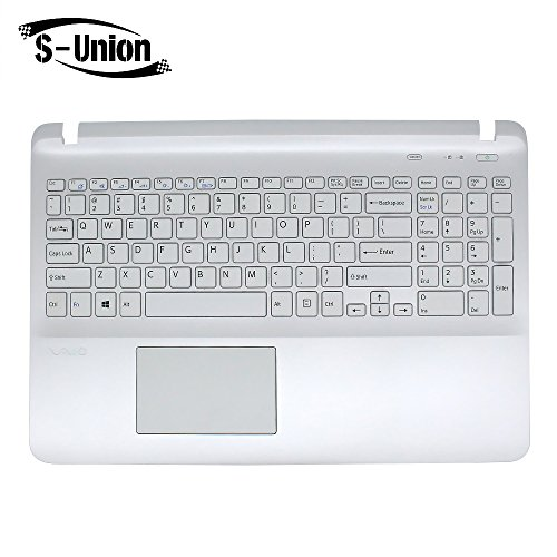 S-Union NEW White QWERTY Laptop US Keyboard With Palmrest For Sony Vaio Fit 15 SVF15 SVF15A SVF15E SVF15A16CXB SVF15N17CXB SVF152100C SVF153 SVF152 SVF152C29M SVF15NE2E SVF152A29M SVF15A1M2ES Series