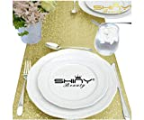 Pack of 16 Light Gold Table Runner 14x108-Inch Champagne Gold Table Cover Wedding Decor Sequin Table Runner Party Supplies 16pcs ~1012S