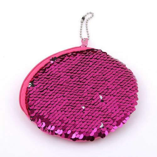 Durable Key Holder Cluthbag Mermaid Sequins Purse Zipper Wallet Bag Fashion New (Color - Hot Pink)