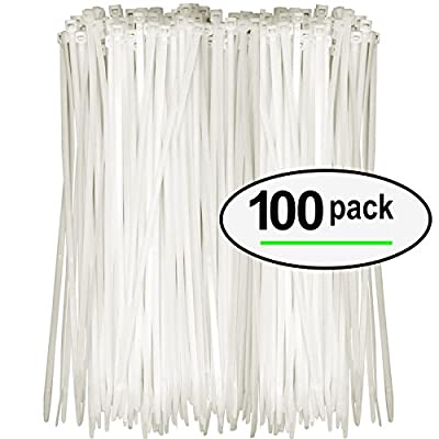 Nylon Zip Ties (Pack of 100) 8 Inch with Self Locking Cable Ties (White)