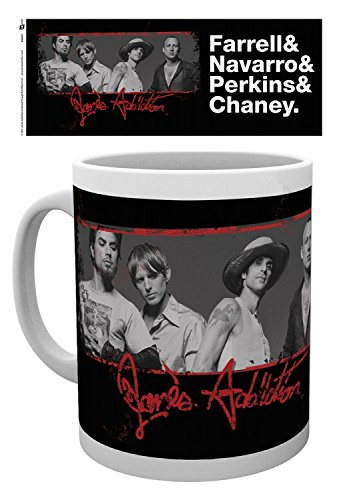 Set: Jane's Addiction, Band Photo Coffee Mug (4x3 inches) And 1x 1art1 Surprise Sticker