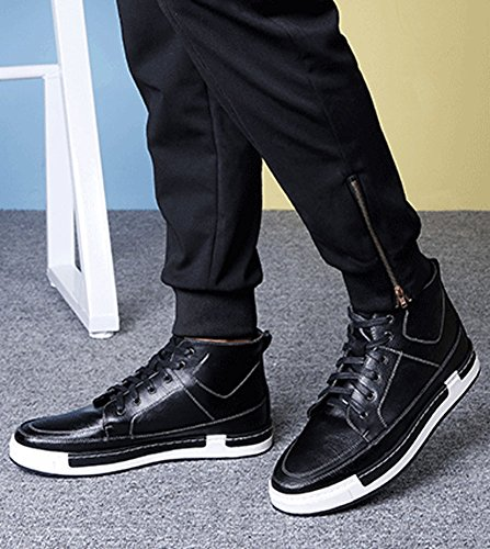 Plaid&Plain Mens High Top Sneakers Boots Skate Shoes Leather High Tops B-black dzbvCbdk