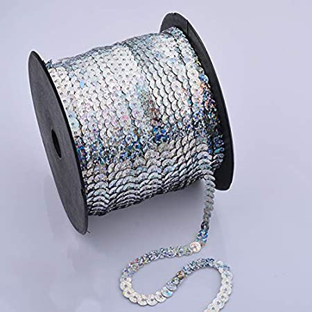 Paillettenband Band /ø 6mm,6m//Rolle silber bastelkoerble/® Pailletten