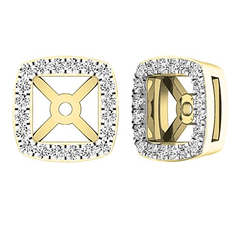 Dazzlingrock Collection 0.25 Carat (ctw) 14K Round White Diamond Removable Jackets For Stud Earrings 1/4 CT, Yellow Gold ()
