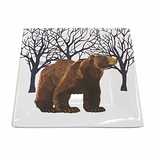 Paperproducts Design New Bone China Small Square Plate Featuring The Distinctive Winter Bear Design, 5.75 x 5.75