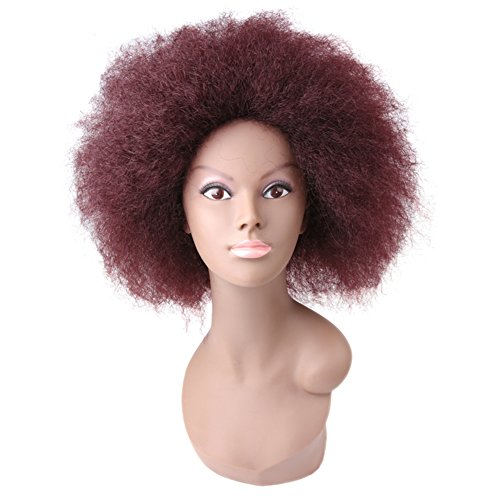 Search : Synthetic Short Kinky Straight Curly Afro Wig Fluffy Wigs for Black Women High Temperature Fiber Lace Front African American Hair Wigs 6inch 100g/pcs (#99J)