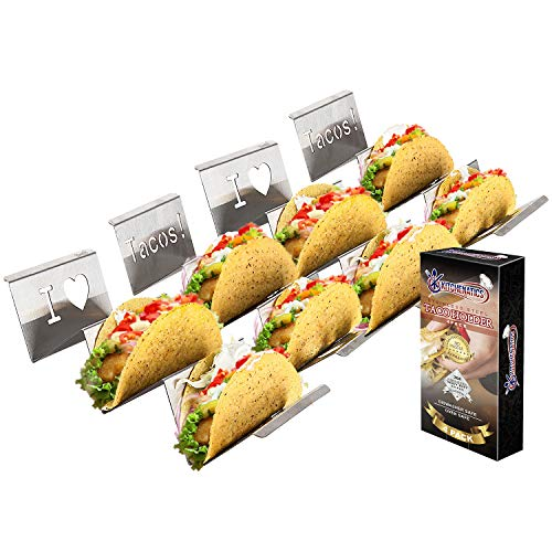 4-Pack Stainless Steel Taco Holder Stand - Wider & Stylish Taco Truck Trays, Holds up to 3 Tacos Each for Soft & Hard Shell Tacos, Hotdogs - Rust Proof, Oven, Grill & Dishwasher Safe by Kitchenatics