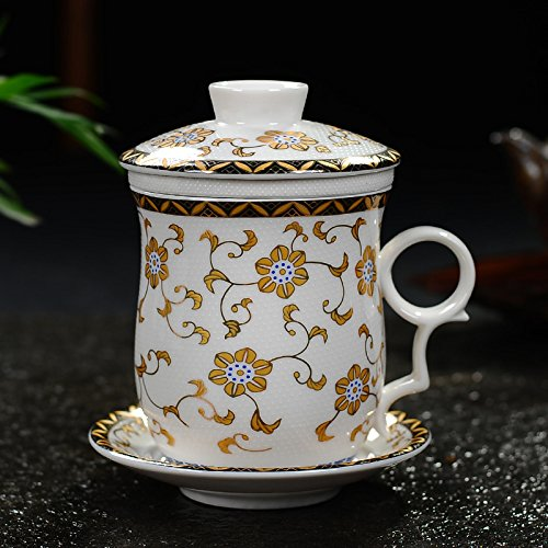 (XYJHER Convenient Travel Office Loose Leaf Tea Brewing System Teacup- Porcelain Tea Cup Infuser4-Piece Set with Tea Cup Lid and Saucer,Marigold )