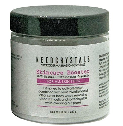 NeedCrystals Microdermabrasion Crystals, DIY Face Scrub. Natural Facial Exfoliator for Dull or Dry Skin Improves Acne Scars, Blackheads, Pore Size, Wrinkles, Blemishes & Skin Texture. 8 oz