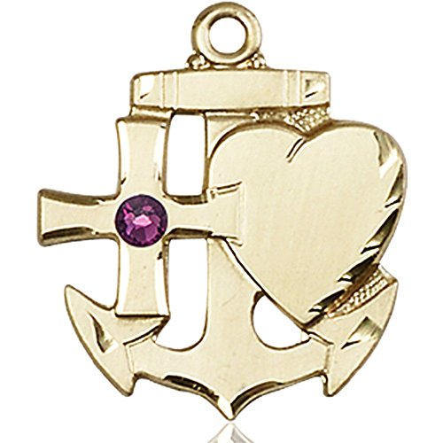 14kt Yellow Gold Faith Hope & Charity Medal with 3mm February Purple Swarovski Crystal 7/8 x 3/4 inches by Bonyak Jewelry Saint Medal Collection