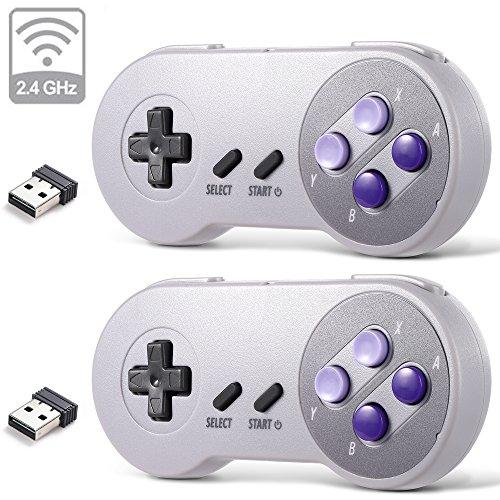 2 Pack 2.4 GHz Wireless USB Controller Compatible with Super Famicom Games, iNNEXT SNES Retro USB PC Super Classic Controller for Windows PC MAC Linux Genesis Raspberry Pi Retropie (Purple/Gray)