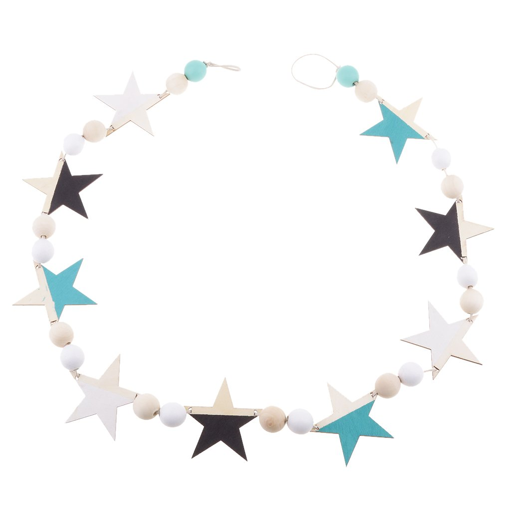 Jili Online 5 Colors Wood Star Flag Bunting Garland Banner Birthday Party Anniversary Kids Room Hanging Decor - #3
