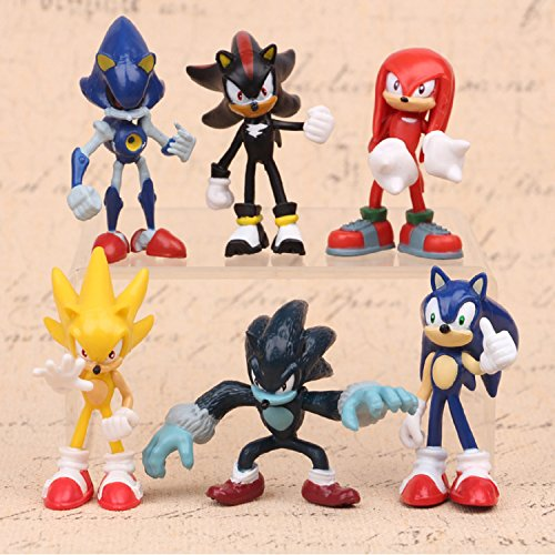 Max Fun Set of 6pcs Sonic the Hedgehog Action Figures, 5-7cm Tall Cake toppers-Sonic, Shadow, Werehog, Metal Sonic, Knuckles & Super (Knuckles Sonic The Hedgehog)