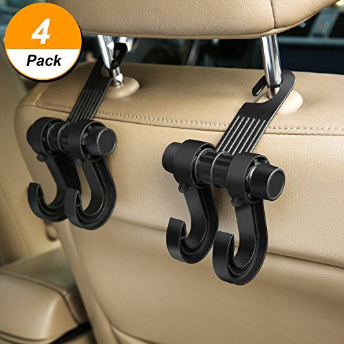 Bememo 4 Pack Car Hooks Vehicle Back Seat Headrest Hangers Hooks Universal Holder for Purse Handbag Grocery Shopping Bag Cloth - Car Pass Steel