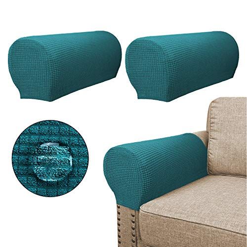 Sofa Armrest Covers(2 Pieces Set) - Water Repellent,Anti-Slip,High Stretch,Knitted Jacquard - Couch Arm Slipcover/Protector/Shield for Dog Cat Pets,Teal