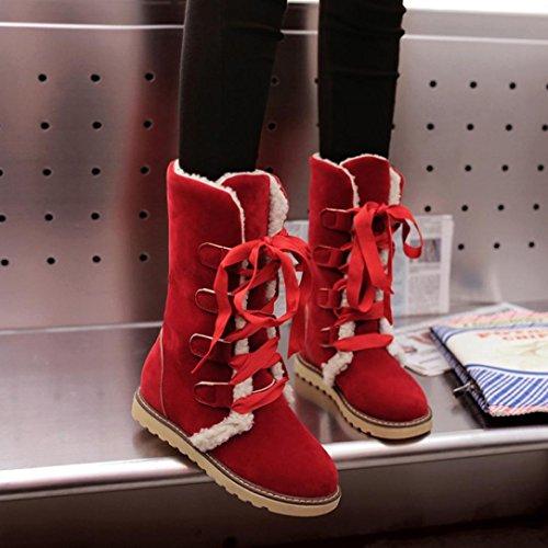 Moda Stivali Rosso Tefamore Inverno Femmina Neve Stivali La Bendare Donne Caviglia 1nXzCv
