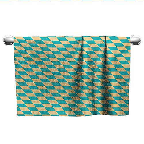 alisoso Geometric,Towels GirlsArt Deco Style Chess Table Dart Like Horizontal Vintage Image Dry Fast Towel Turquoise and Pale Yellow W 10